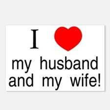 I <3 my husband & my wife Postcards (Package of 8)