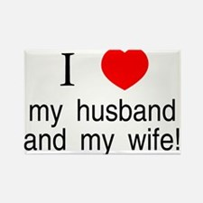 I <3 my husband & my wife Rectangle Magnet