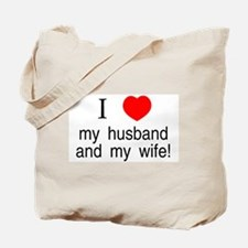 I <3 my husband & my wife Tote Bag