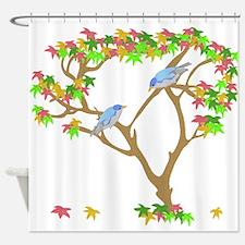 Asian Blue Birds Shower Curtain