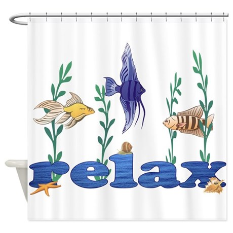 Relax tropical fish shower curtain by sunnydaysdesign for Tropical fish shower curtain