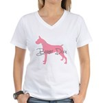 Diamonds Boxer Diva Women's V-Neck T-Shirt