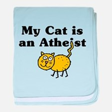 Cat is an Atheist baby blanket