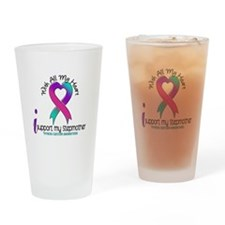 With All My Heart Thyroid Cancer Drinking Glass