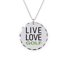 Live Love Golf Necklace Circle Charm