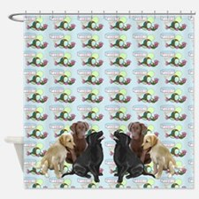 lab puppies and toys Shower Curtain