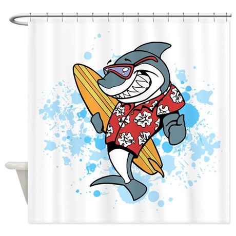Shark Cartoon Shower Curtain