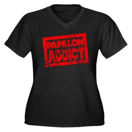 Papillon ADDICT Women's Plus Size V-Neck Dark T-Sh