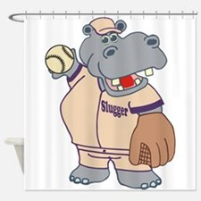 Softball Hippo Shower Curtain