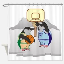 Penguin Basketball Shower Curtain
