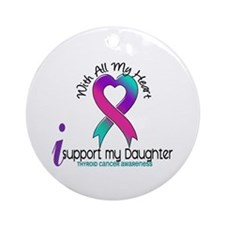 With All My Heart Thyroid Cancer Ornament (Round)