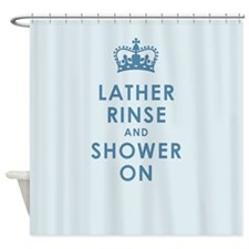 Lather Rinse Blue Shower Curtain