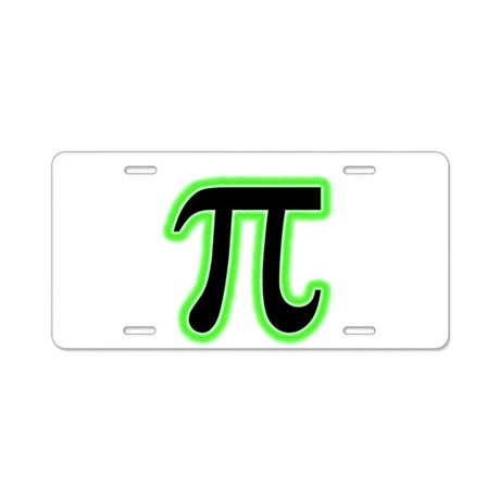 Green Glowing Pi Aluminum License Plate