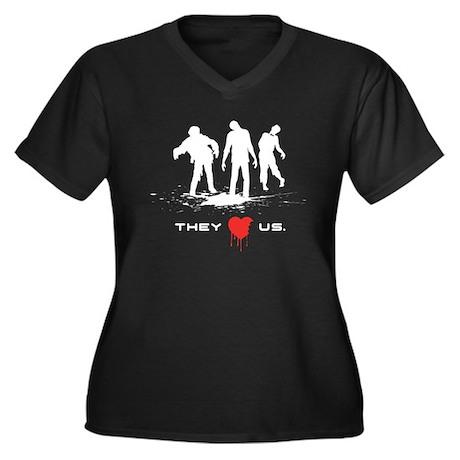 They Love Us Women's Plus Size V-Neck Dark T-Shirt