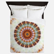 Detailed Orange Earth Mandala Queen Duvet