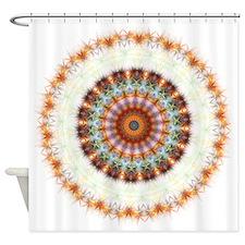 Detailed Orange Earth Mandala Shower Curtain