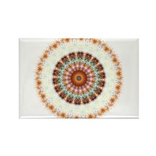 Detailed Orange Earth Mandala Rectangle Magnet