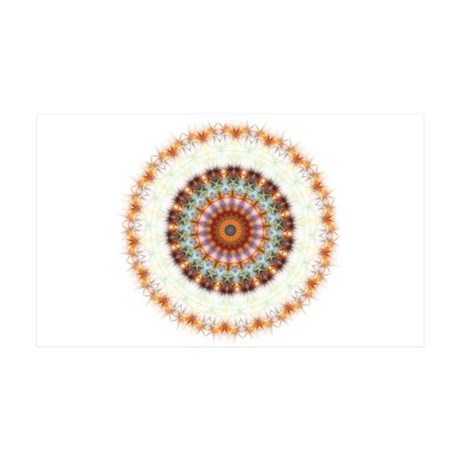 Detailed Orange Earth Mandala 35x21 Wall Decal