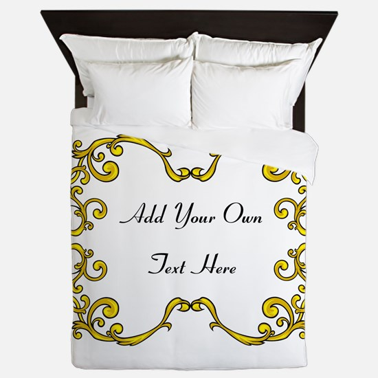 Gold Color Scrolls, Custom Te Queen Duvet