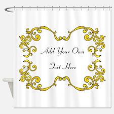 Gold Color Scrolls, Custom Te Shower Curtain