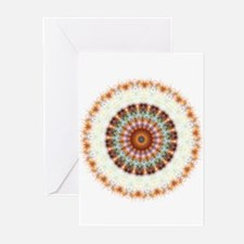 Detailed Orange Earth Mandala Greeting Cards (Pk o
