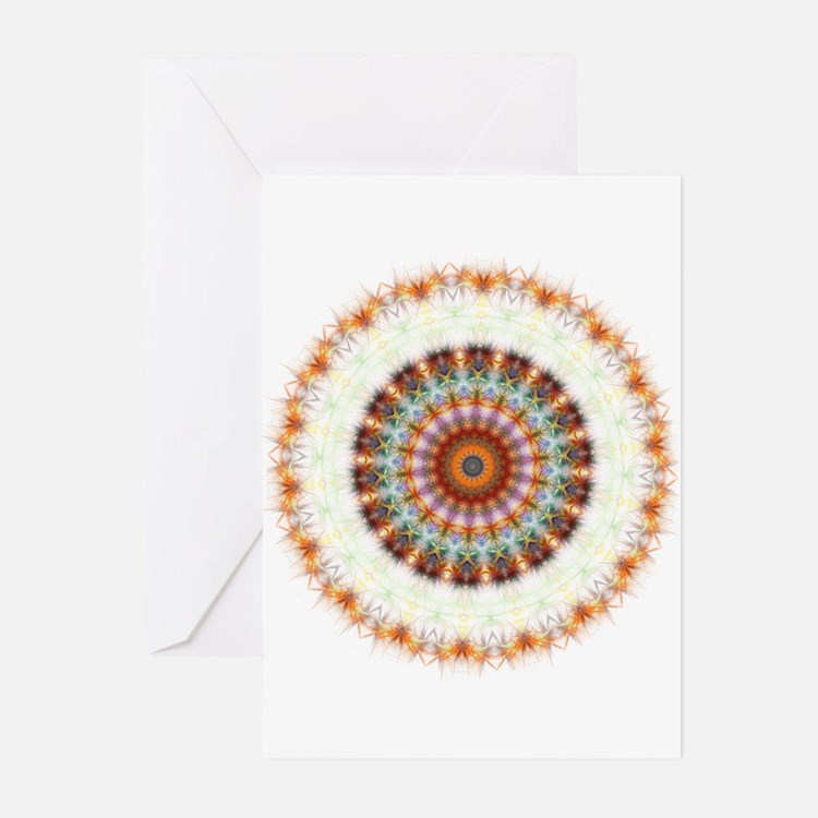 Detailed Orange Earth Mandala Greeting Cards (Pk o