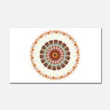 Detailed Orange Earth Mandala Car Magnet 20 x 12