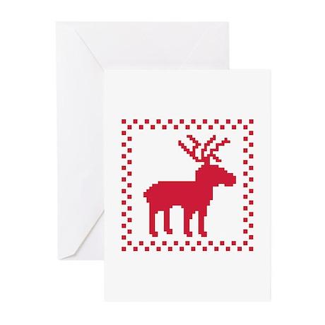 Norwegian reindeer pattern Greeting Cards (Pk of 1