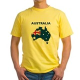 Australia Mens Yellow T-shirts