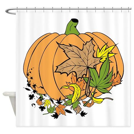 Autumn Leaves and Pumpkin. Shower Curtain