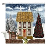 Irish Christmas Thatched Cottage Shower Curtain