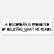 A Discordian is Prohibited Bumper Bumper Sticker