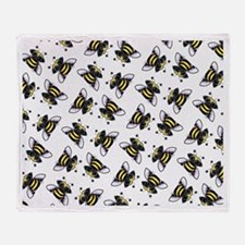 Pug Bees White Throw Blanket