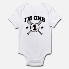Cute 1 Year Old Baseball Infant Bodysuit