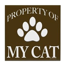 Property of My Cat Dark Brown Tile Coaster