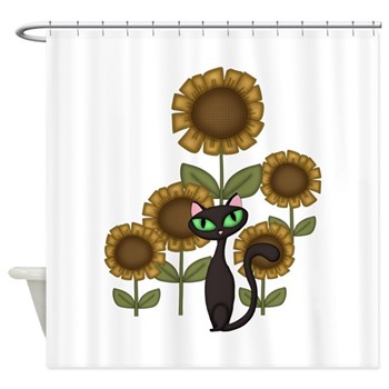 Sunflowers and Cat Shower Curtain