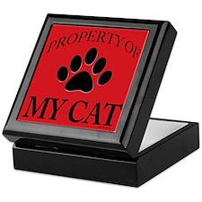 Property of My Cat Keepsake Box Black on Red