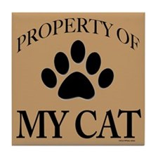 Property of My Cat Black on Lt Brown Tile Coaster