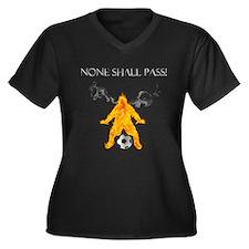 None Shall Pass Women's Plus Size V-Neck Dark T-Sh