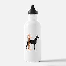 Grunge Doberman Silhouette Water Bottle