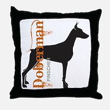 Grunge Doberman Silhouette Throw Pillow