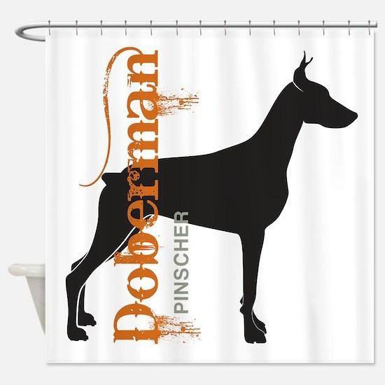 Grunge Doberman Silhouette Shower Curtain