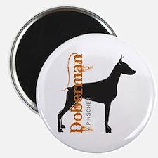 Grunge Doberman Silhouette Magnet
