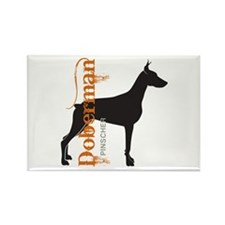 Grunge Doberman Silhouette Rectangle Magnet