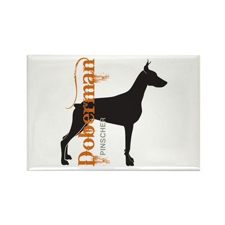 Grunge Doberman Silhouette Rectangle Magnet (100 p