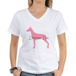 Diamonds Doberman Diva Women's V-Neck T-Shirt