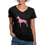 Diamonds Doberman Diva Women's V-Neck Dark T-Shirt