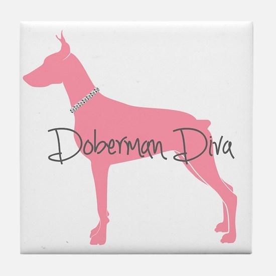 Diamonds Doberman Diva Tile Coaster