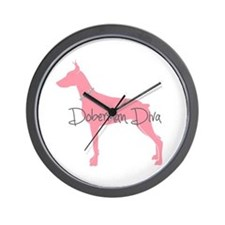 Diamonds Doberman Diva Wall Clock