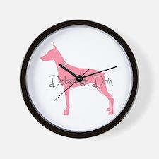 Diamonds Doberman Diva Wall Clock